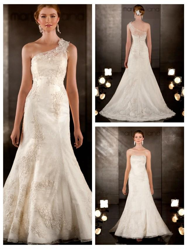 wedding photo - A-line Lace Embroidered Wedding Dress with Detachable Asymmetrical Lace Shoulder Strap
