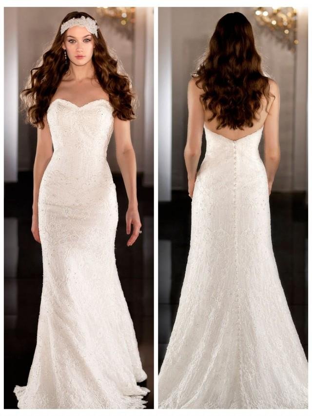 wedding photo - Soft sweetheart column gown with vintage Parisian lace Wedding Dress