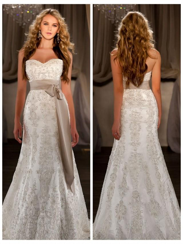 wedding photo - A-line Sweetheart Embroidered Lace and Beading Throughout Wedding Dress