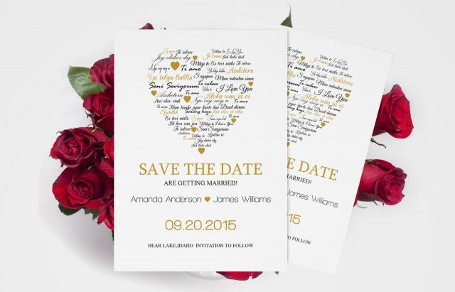 wedding photo - I Love You other Languages Heart Save the Date Editable PDF Templates