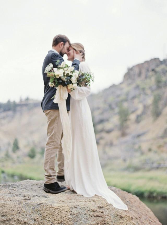 Outdoor elopement in a long sleeve gown wedding sparrow for Elopement wedding dress ideas