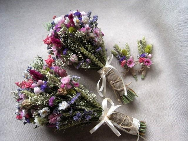 bouquets set pink purple wedding bouquets rustic wedding dried flowers