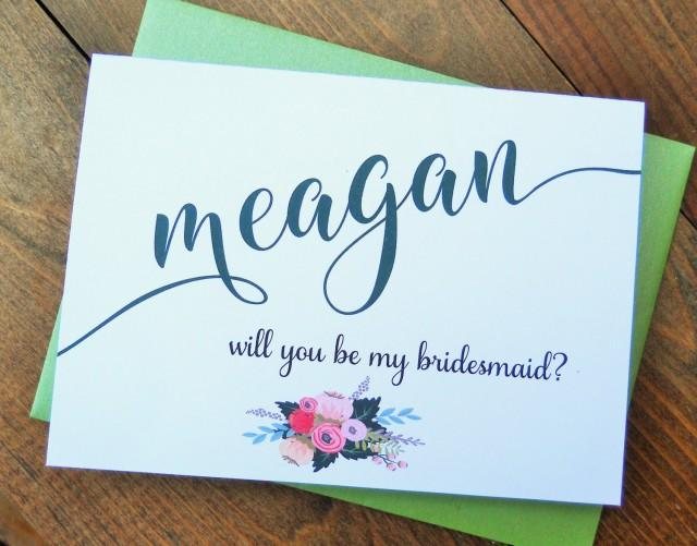 wedding photo - PERSONALIZED Will You Be My BRIDESMAID Card,  Shimmer Envelope, Bridesmaid Proposal, Ask Bridesmaid Card, Wedding Note Card