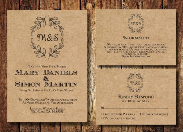 rustic wedding invitation template set kraft paper wreath casual wedding invite digital pdf. Black Bedroom Furniture Sets. Home Design Ideas