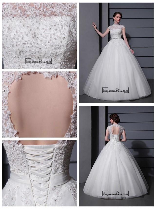 wedding photo - Amazing Tulle&Satin Ball gown Illusion High Natural Waistline Wedding Dress