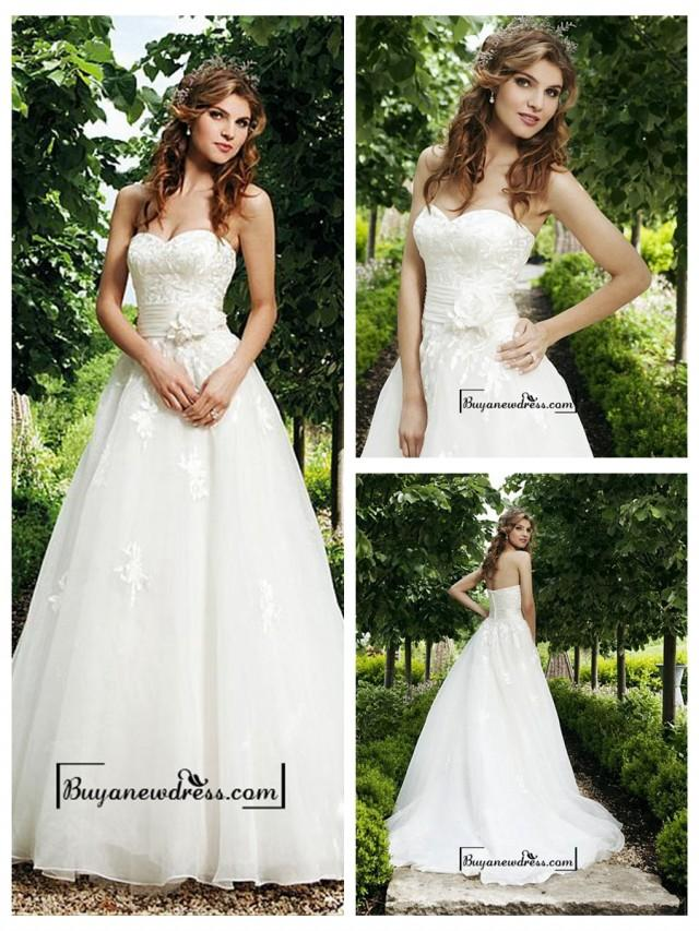 wedding photo - Attractive Organza Satin A-line Sweetheart Raised Waist Wedding Dress
