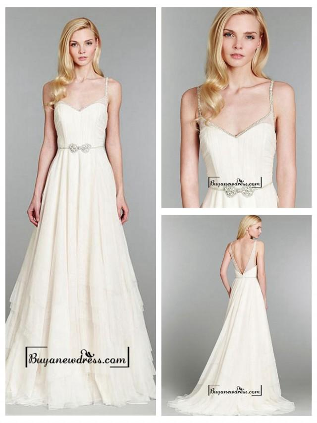 wedding photo - Attractive Tulle & Satin A-line Spaghetti Straps Natural Waistline Wedding Dress