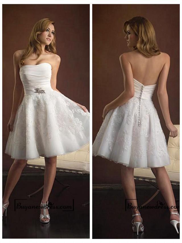 wedding photo - Beach Taffeta & Organza Satin Ruched Bodice Softly Curved Neckline Short and Sassy Wedding Dresses