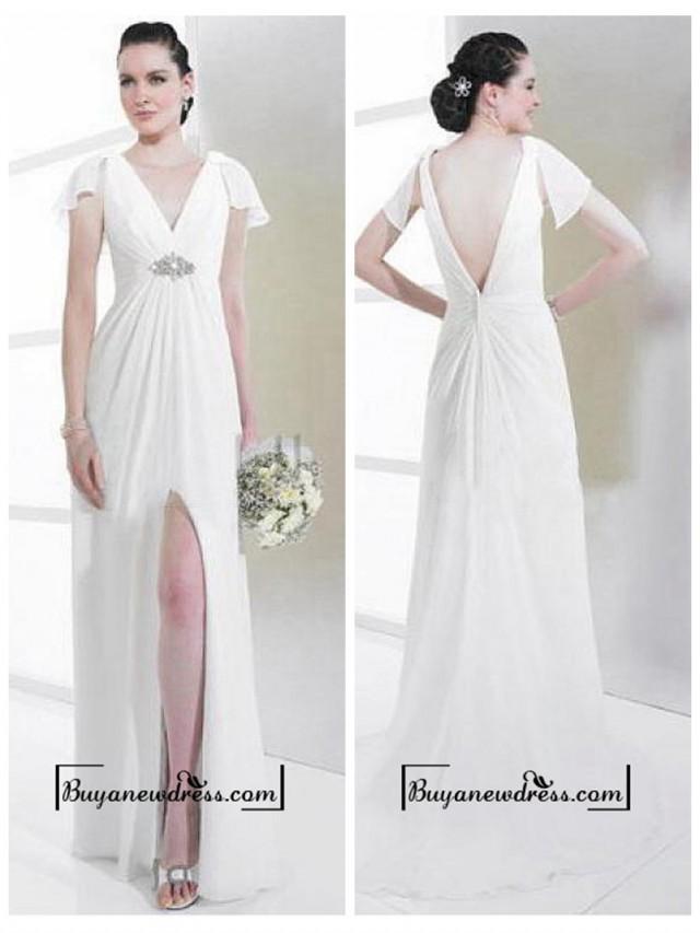 wedding photo - Attractive Chiffon & Satin Sheath V-neck Slit Wedding Dress