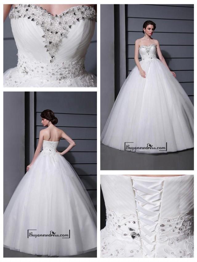 wedding photo - Alluring Tulle&Satin Ball gown Sweetheart Neckline Raised Waistline Wedding Dress