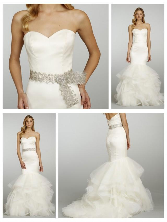 Straless Sweetheart Silk Satin Bridal Gown With Trumpet
