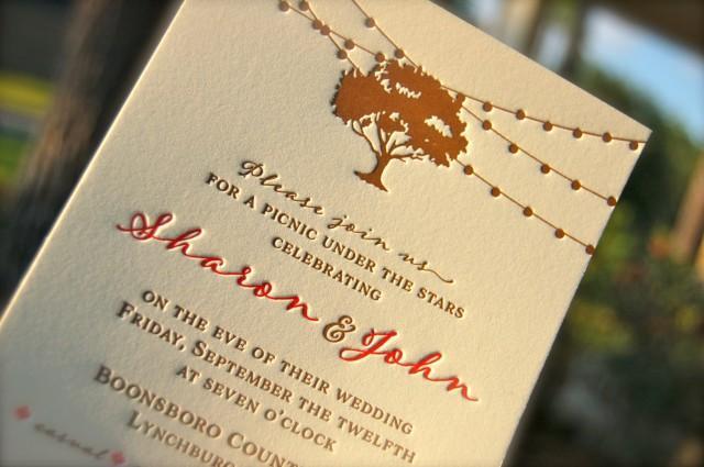 Letterpress Wedding Invitation Letterpressed Rehearsal