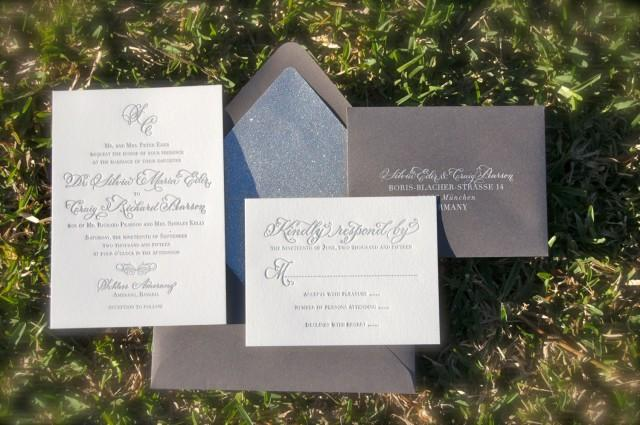 Letterpress Printing Wedding Invitations: Simple And Elegant Letterpress Wedding Invitations, Silver