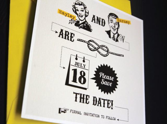 Vintage yellow save the date template tying the knot for Vintage save the date templates free