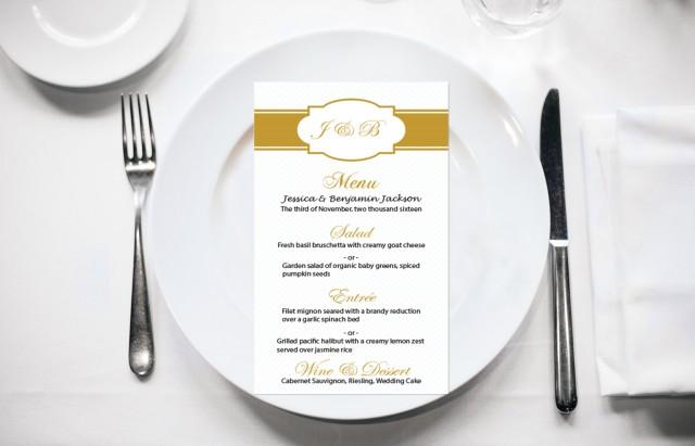 wedding photo - Gold Monogram Frame Wedding Menu Card Editable PDF Template