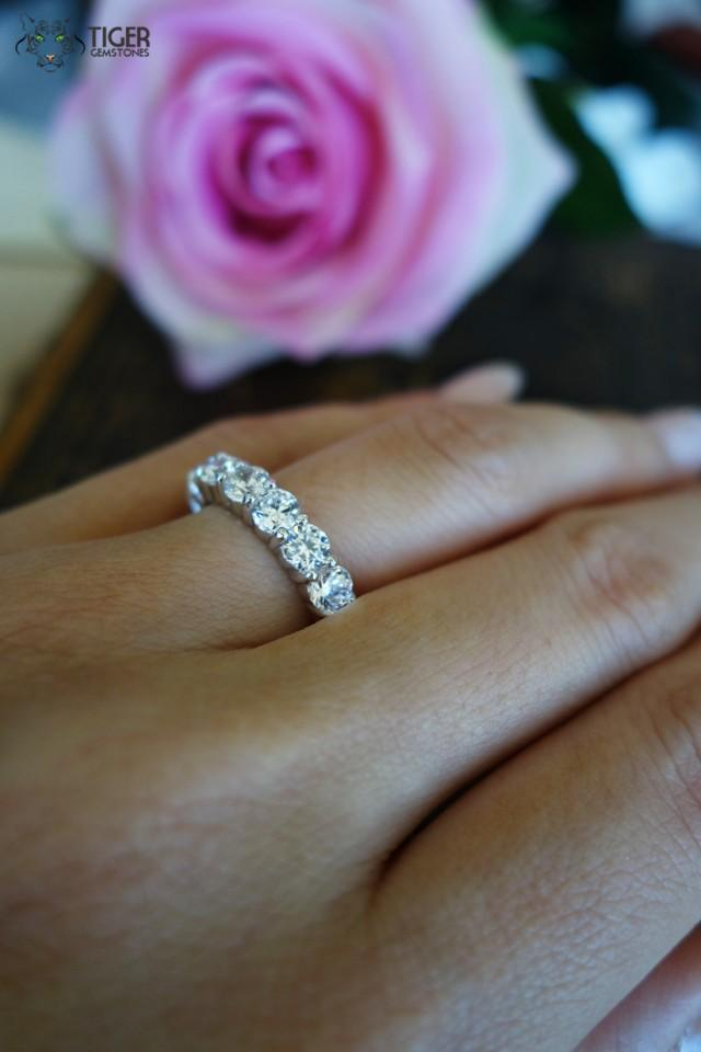 4 carat eternity band round wedding band engagement ring for Engagement wedding and eternity ring