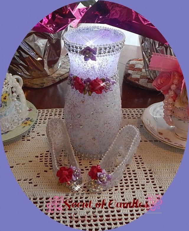 Cinderella candle set swarovski crystals wedding decor for Swarovski decoration crystals