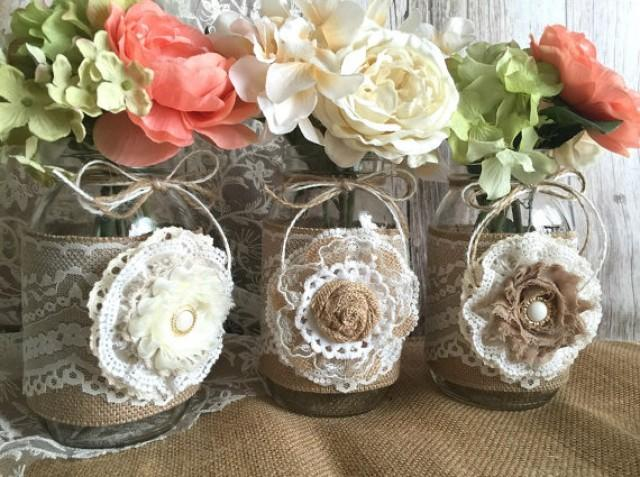 wedding photo - natural burlap and lace covered 3 mason jar vases wedding deocration