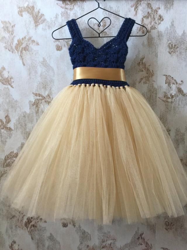Navy And Gold Empire Flower Girl Tutu Dress Crochet Sweetheart Neckline Tutu Dress Baby Tutu