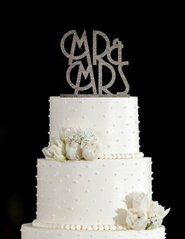Mr & Mrs Art Deco Acrylic Wedding Cake Topper (Gold ...
