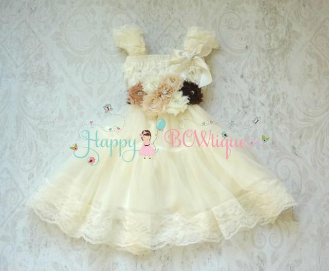 wedding photo - Flower girl dress- Burlap Ivory Lace Chiffon Dress set, rustic Flower girl dress, burlap dress, Country Rustic Dress, Baby dress,Girls Dress