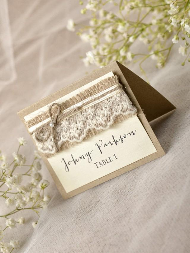 Rustic place cards 20 lace place cards grey wedding for Place card for wedding