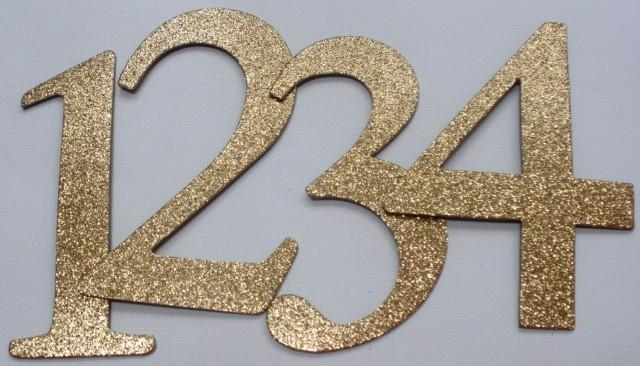 4 wedding table numbers glitter top coat chipboard for Table th font color
