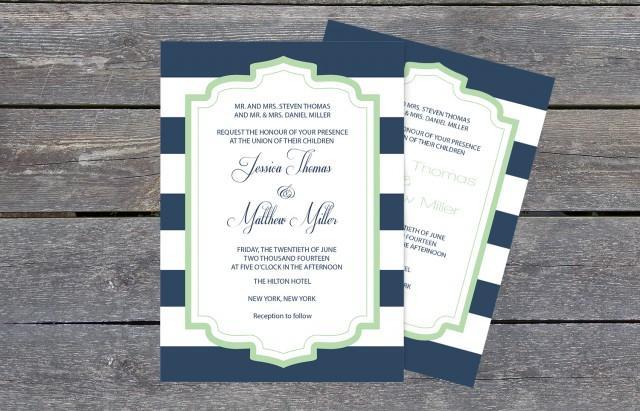 wedding photo - Navy & White Striped Mint Frame Printable Wedding Invitation PDF Templates