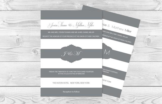 wedding photo - Grey & White Striped and Frame Printable Wedding Invitation Editable PDF Templates