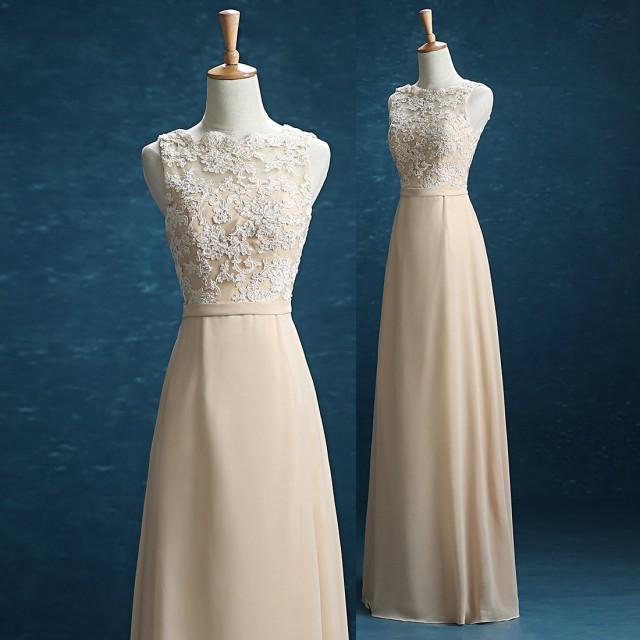 2016 Champagne Lace Chiffon Bridesmaid Dress, Floor Length Wedding Dress, Straps Formal Dress ...
