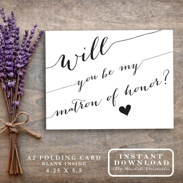 "wedding photo - Matron of Honor Card Printable ""Will You Be My Matron Of Honor?"" Ask Matron of Honor Proposal Bridal Party Cards"