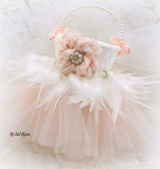 Flower Girl Basket Ivory Blush Wedding Bridal Tutu