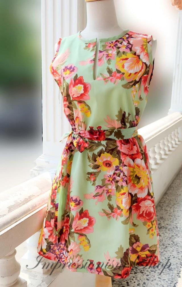 Floral wedding dress bridesmaid dress vintage style for Light green wedding dress