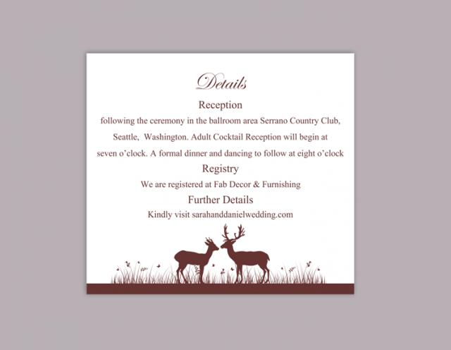 DIY Wedding Details Card Template Editable Word File Instant – Wedding Information Card Template
