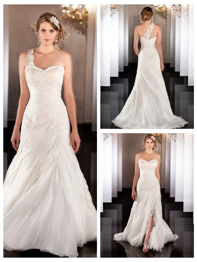 Silk organza a line lace apliques ruched wedding dress for Wedding dress detachable skirt