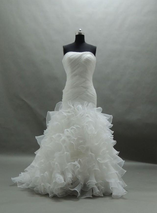 Gorgeous strapless white organza mermaid wedding dresses for White corset for under wedding dress