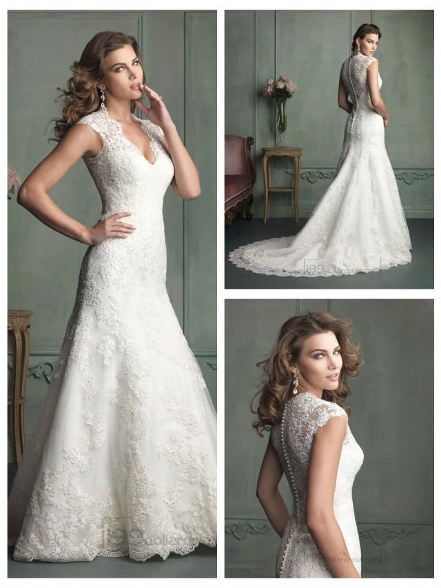 wedding photo - Cap Sleeve Plunging Neckline Mermaid Wedding Dresses with Paneled Back