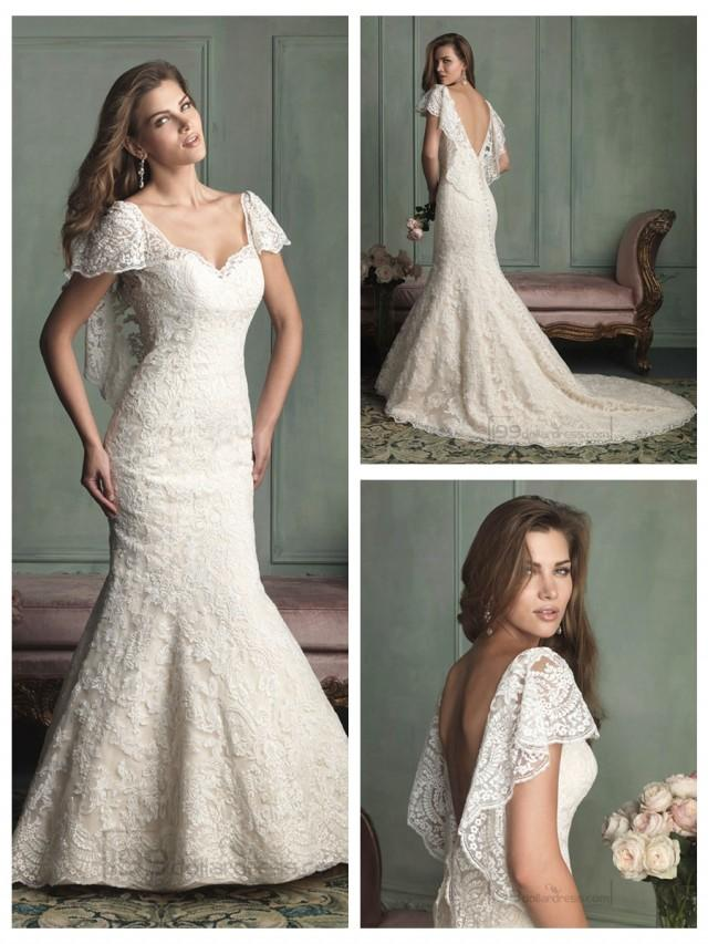 wedding photo - Unique Short Butterfly Sleeves Mermaid Wedding Dresses with V-back