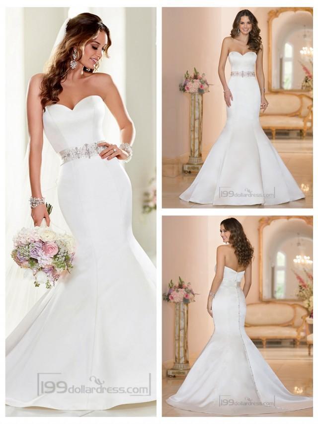 wedding photo - Strapless Sweetheart Mermaid Wedding Dresses with Beading Waist