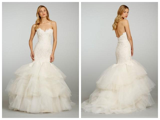 wedding photo - Champagne Strapless Sweetheart Lace Wedding Dress with Circular Tiered Skirt