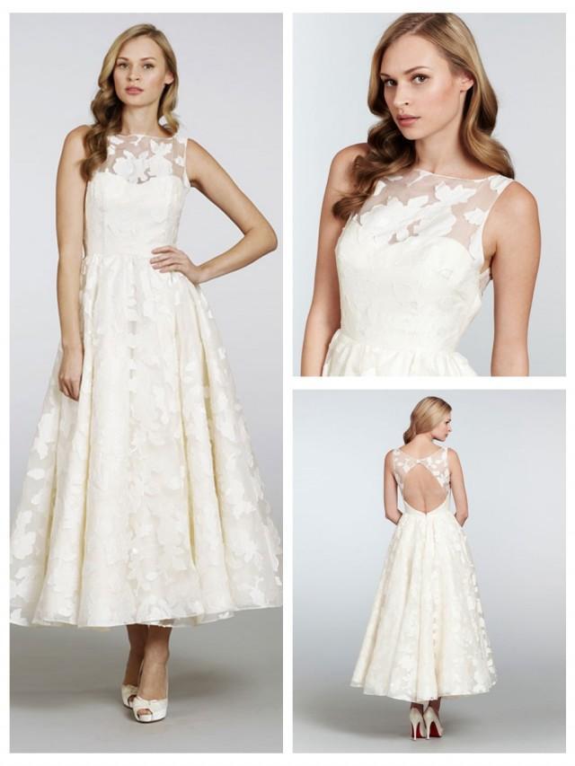 wedding photo - Tea-length Bateau Neckline Open Back Wedding Dress with Circular Skirt