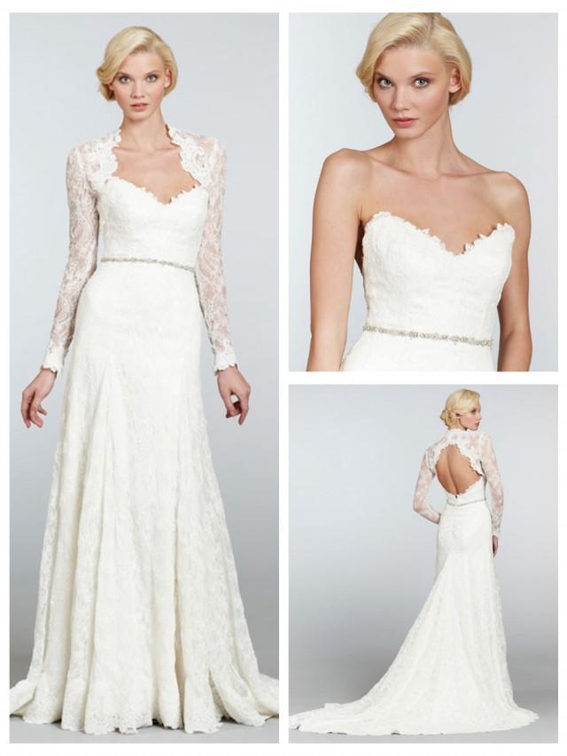 wedding photo - Strapless A-line Long Sleeves Wedding Dress