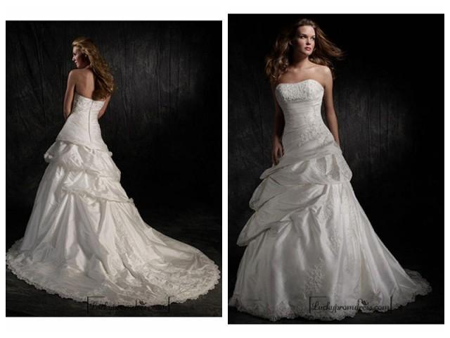 wedding photo - Beautiful Elegant Exquisite Taffeta Strapless Wedding Dress In Great Handwork