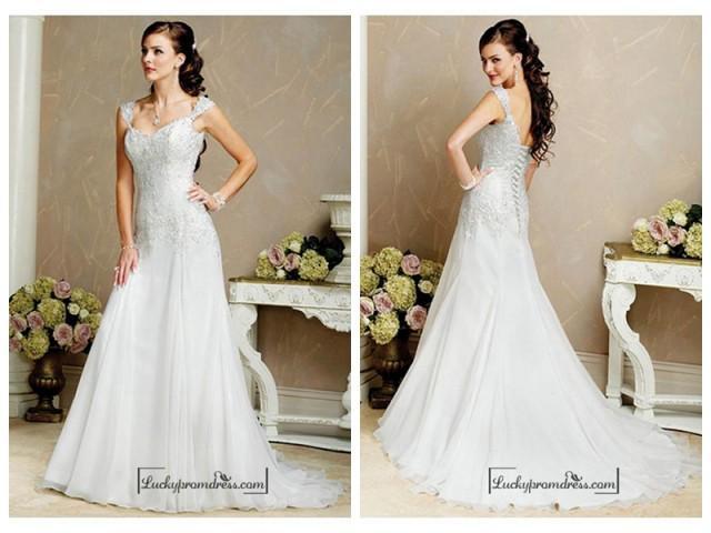 wedding photo - Beautiful Elegant Organza A-line Queen Anne Wedding Dress In Great Handwork