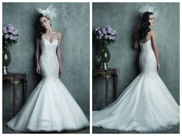 wedding photo - Strapless Sweetheart Beaded Bodice Mermaid Wedding Dresses