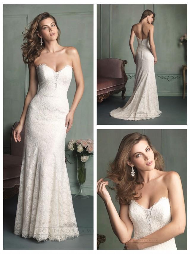 wedding photo - Simple Strapless Sweetheart Floor Length Lace Wedding Dresses