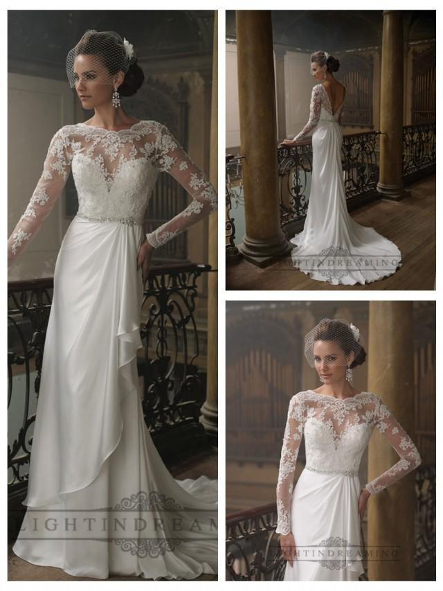 wedding photo - Sheath Bateau Neckline Ruffled V-back Wedding Dresses with Lace Long Sleeves