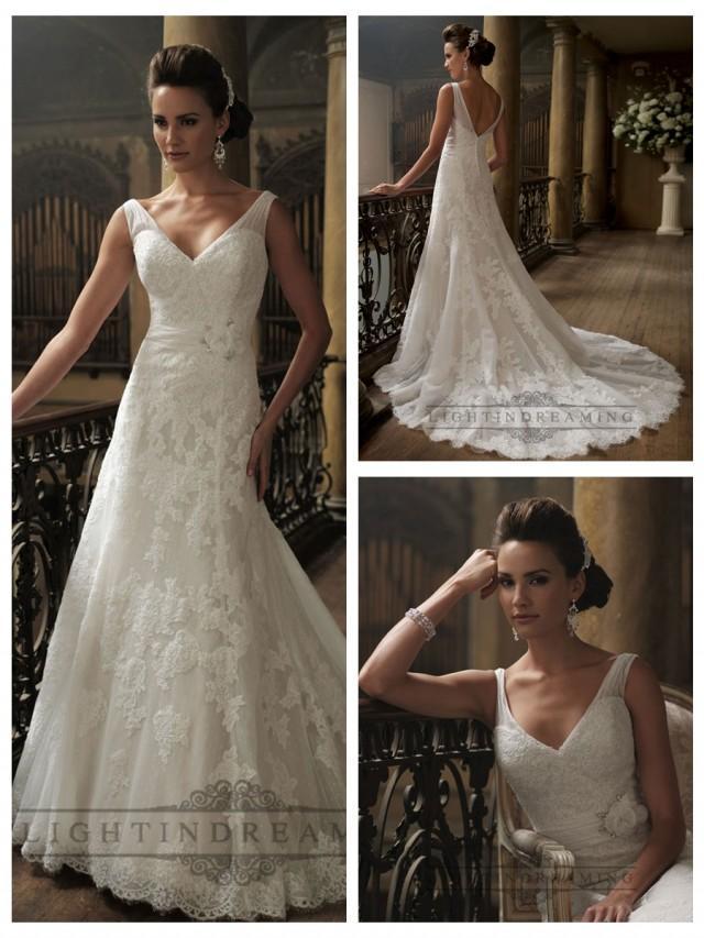 wedding photo - Ruched Straps A-line V-neck and V-back Wedding Dresses