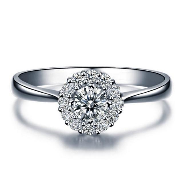 shape halo engagement ring 14k white gold or