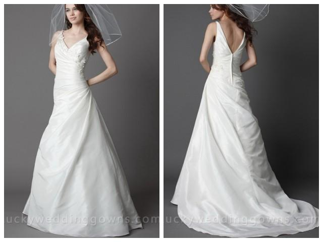 ivory v neck taffeta asymmetrical chapel wedding